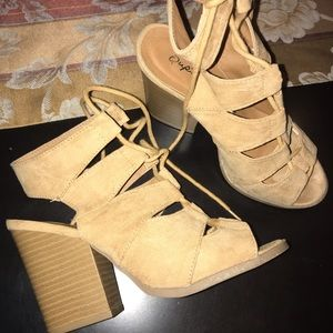 tan lace up suede heels